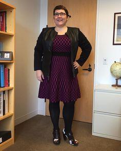 Taylor Dresses Sweater Dress in Ultra Violet Print on Gwynnie Bee member Linda