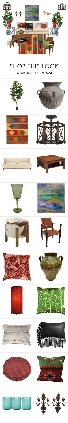"""Ojai Resort Style"" by serrealdesigns ❤ liked on Polyvore featuring interior, interiors, interior design, home, home decor, interior decorating, NOVICA, Quoizel, DutchCrafters and Steuben"