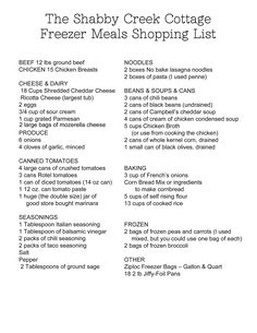 Shopping List and Instructions for making 28 freezer meals in 4 hours (to be cooked in oven, not crock pot) Make Ahead Freezer Meals, Crock Pot Freezer, Freezer Cooking, Quick Meals, Cooking Tips, Cooking Recipes, Freezer Dinner, Budget Cooking, Meal Recipes