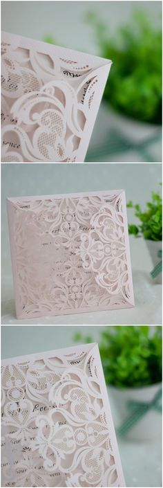 blush pink elegant laser cut wedding invitations