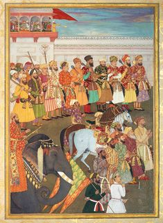 Asaf Khan during his accession ceremonies from the Padshahnama manuscript, c. 1656, South Asia. Courtesy Royal Collection Trust; © Her Majesty Queen Elizabeth II, 2018