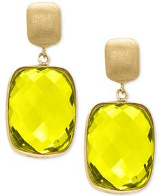 EFFY® Lemon Quartz Drop Earrings (20-1/2 ct. t.w.) in 14k Gold | macys.com