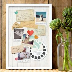 A memory board - paper gift ideas for your first wedding anniversary