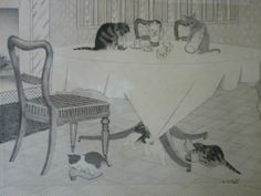 Vintage Original Pen and Ink Drawing/Sketch Kittens & Mother Cat - 1940s/1950s?