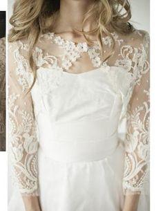 white lace shoulder covering.  Homemade wedding dress. lace shrug