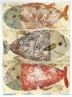 Three Fishies by ScottBergey on Etsy Painting Collage, Collage Art, Collages, Paintings, Fish Sculpture, Art Thou, Encaustic Art, Kids Room Art, Naive Art