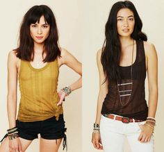 $28 Free People Beach Brown Olive Martini Ribbed Pixie Racerback Tank