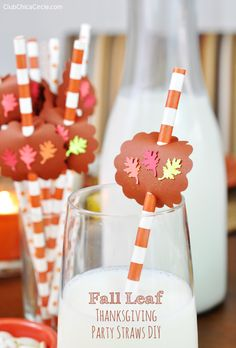 Fall Leaf Thanksgiving Party Straws DIY | Club Chica Circle - where crafty is contagious