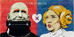 Funny Illustrations Of Hillary Clinton & Donald Trump As Pop Culture Icons - DesignTAXI.com