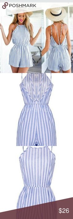 6/7/16 HOST PIC ONLY ONE LG LEFT measure aprox Stylish Lady Women Sexy Strap Striped Backless Elastic Waist Slim Club Casual Short Jumpsuit 100% Brand New.  Material: Linen  Color: White Blue  Collar: Strap  Sleeve: Sleeveless  Style: Jumpsuit  Length Style: Short  Pattern: Striped  Design: Backless  Waist Style: Elastic Waist  Fit Style: Slim  Occasion: Casual, Club  Garment Care: Hand-wash and Machine-wash  Available only  large left Other