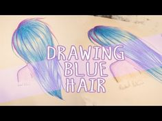 How to Draw long Blue Hair Crayola Colored Pencils (Super Easy) pretty anime style manga hair drawing Tutorial on Youtube