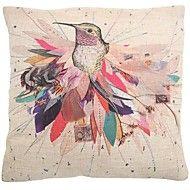 "createforlife® 18 ""retro tela pittorica in cotone uccello piazza cuscino decorativo"