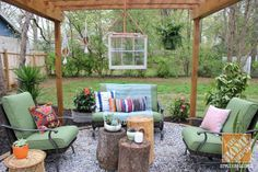 Look at all the wonderful details in blogger Lindsay Jackman's eclectic and fun backyard pergola! See more photos on The Home Depot Blog.