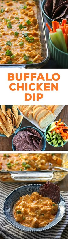 This buffalo chicken dip recipe is the perfect game day food! It tastes just like buffalo wings but with less mess and no frying. Serve it with chips, bread chunks or carrots and celery. | honeyandbirch.com