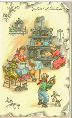 Vintage Christmas Card, Unused, Greetings at Christmas, Silver Embellishment