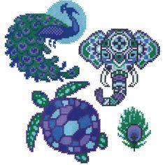perler beads: Mini Beads Peacock, Elephant, and Turtle pdf Perler Bead Designs, Perler Bead Templates, Hama Beads Design, Diy Perler Beads, Perler Bead Art, Mini Hama Beads, Melty Bead Patterns, Pearler Bead Patterns, Perler Patterns