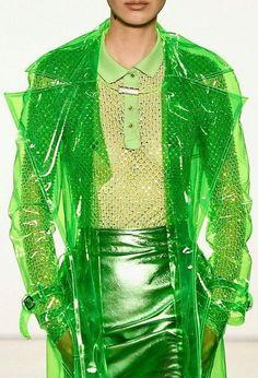 Green Transparent Vinyl Trench Raincoat. Gorgeous Raincoat | Etsy Haute Couture Style, Space Fashion, High Fashion, Fashion Design, Crazy Fashion, Green Fashion, Stylish Raincoats, Coachella, Vinyl Raincoat