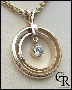 Diamond Double Eternity Circle Pendant Necklace in Yellow Gold. Wedding Ring Necklaces, Gold Wedding Rings, Bridal Jewelry, Wedding Bands, Pendant Jewelry, Silver Jewelry, Jewelry Necklaces, Pendant Necklace, Diamond Necklaces