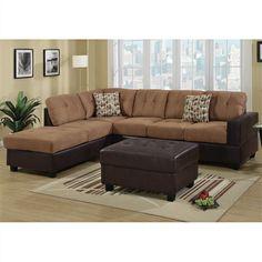 3-PCS Sectional 3 Seat Sofa Reversible Chaise w/ Ottoman & 2 Pillows