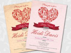 Baby Shower Invitation. Lovely Red Heart baby shower by arthomer