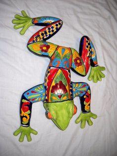 Talavera FROG BullFrog Toad Mexican Pottery Garden Patio CERAMIC Pond
