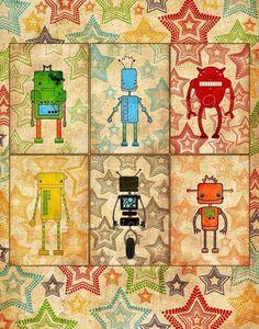 Cute robots! The Robot Six Large Art Print - Nursery art prints, baby nursery, nursery decor, nursery wall art, kids art. $38.00, via Etsy.