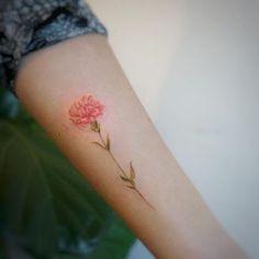 A lovely Carnation flower tattoo by tattooist G.NO A lovely Carnation flower tattoo by tattooist G. Carnation Flower Tattoo, Pink Flower Tattoos, Birth Flower Tattoos, Flower Tattoo Designs, Tattoo Flowers, Flower Tattoo Meanings, Lotus Flower, Body Art Tattoos, Small Tattoos