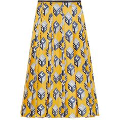 Gucci Pleated printed silk-twill midi skirt (82.455 RUB) ❤ liked on Polyvore featuring skirts, bottoms, yellow, gucci, yellow midi skirt, calf length skirts, mid calf skirts, yellow pleated skirt and box pleat skirt
