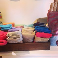 Here's one of our ranges. These are wrist warmers recycled from cashmere jumpers. Made in Shropshire from Turtle Doves, these are a really good seller for us. Especially when it gets a little colder.