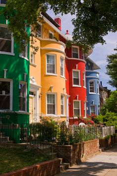 Washington DC's Adams Morgan neighborhood of colorful row homes Georgetown Washington Dc, Washington Dc City, Aquitaine, Dc Travel, City Living, Townhouse, The Row, The Neighbourhood, Places To Go