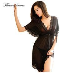 Cheap sleepwear nightgown, Buy Quality ladies nightgowns directly from China chemise de nuit Suppliers: Womens Nightdress Sexy Lace Splicing Nightgowns Batwing Sleeve V-Neck Woman Sleepwear Nightgown Chemise De Nuit Ladies Nightgown Pretty Lingerie, Black Lingerie, Beautiful Lingerie, Lingerie Set, Sleepwear Women, Lingerie Sleepwear, Nightwear, Babydoll Lingerie, Loungewear