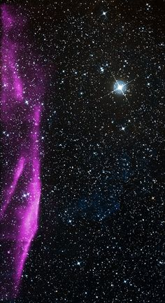 After a massive star in the Milky Way exploded, it produced a shock wave of high-energy particles, seen here in purple. In the background, you can see stars as imaged by the Digital Sky Survey. Chandra captured data on the shock wave in 2003. It is estimated to be 2,400 light-years away.