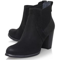 UGG Cobie Block Heeled Ankle Boots , Black Nubuck ($230) ❤ liked on Polyvore featuring shoes, boots, ankle booties, low ankle boots, short black boots, black flat boots, high heel boots and flat booties