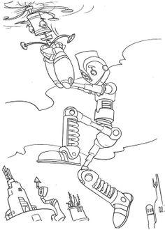 robots jumping coloring page