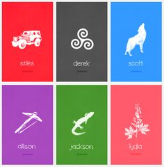 Minimalist posters for Teen Wolf characters