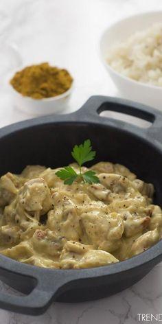 Receta rápida y sencilla de pollo al curry Mexican Food Recipes, Real Food Recipes, Chicken Recipes, Cooking Recipes, Yummy Food, Healthy Recipes, Ethnic Recipes, Pollo Chicken, Salty Foods