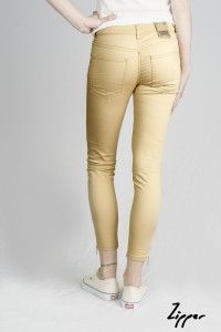 Women's Camel Zipper Organic Sateen Jeans WAS £65 NOW £40 Available now at Monkeegenes.com