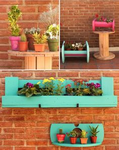 Cute Cable Drum / Reel Recycling Ideas: these cable drums can be used as coffee table, books shelves, bottle holders or as decor craft in your room or in the garden. Pallet House, Garden Deco, Recycled Pallets, Wood Pallets, Wooden Planters, Pergola Designs, Do It Yourself Projects, Pallet Projects, Pallet Ideas
