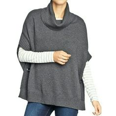 "Oversized Cowl Neck Poncho Sweater Plus Size Old Navy brand. Size XL - XXL Graphite Heather Grey color.  Cowl neck/ funnel neck sweater- poncho style. Rib knit funnel neck. Open rib knit sides with button closures. Soft medium weight cotton blend. Very warm! Rib knit hem.  I'm 5' 5"" and it's long enough to cover my butt. Excellent conditon. Worn once. Old Navy Sweaters Shrugs & Ponchos"