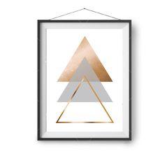 Gold Triangles Printable Art Minimalist Art by PrintAvenue on Etsy