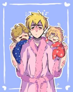 Arthur and little Alfred and Matthew - Art by pegsie-art.tumblr.com
