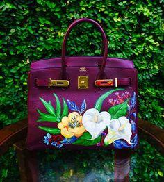 Hand painted Hermes birkin by artist love Marie aka heart evangelista Hermes Birkin, Hermes Bags, Hermes Handbags, Fashion Handbags, Fashion Bags, Leather Handbags, Fashion Trends, Birken Bag, Painted Bags