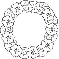 This Poppy Wreath Coloring Page Features A Picture Of To Color For Remembrance Day The Is Printable And Can Be Used In