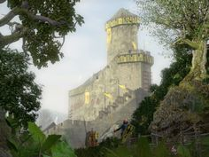 Saw reconstruction of the castle Ortenburg / Ortenburg from the north.