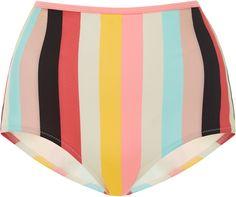 Solid & Striped Brigitte Striped High-Rise Bikini Bottoms 1950s, retro, 50s, colorful pastel, pinks, colorful,