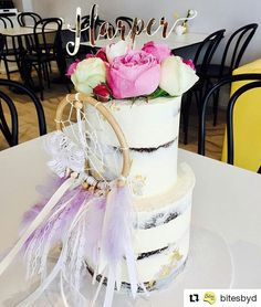 "58 Likes, 6 Comments - Kreate a Dream (@kreateadream) on Instagram: ""Boho naked cake by @bitesbyd stands gorgeously with our Purple hues & Lace Dreamcatcher cake topper…"""