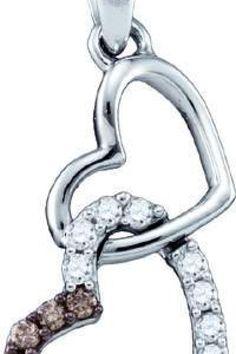 0.16CTW COGNAC DIAMOND LADIES HEART PENDANT     Metal Type: 10KWG     Metal Weight (gms): 1.608 (approx.)     GD-72574    thesgdex.com