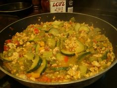 Veggie Stir Fry: zucchini, sweet peppers, banana peppers, green peppers, celery, stringbeans, diced tomatos with basil, garlic, and oregano, ground turkey, salt, pepper, onion and garlic powder, little sugar and the best tip is to use coconut oil.