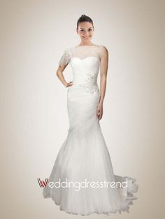 Best Ruched Sheer Bateau Mermaid Wedding Dress with Appliques - Cheap Wedding Dresses Wholesale and Retail Online Store