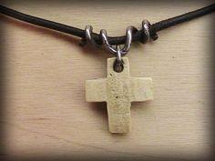 Sea Shell Cross Pendant on Black Cord by JosephChumchal on Etsy, $15.00